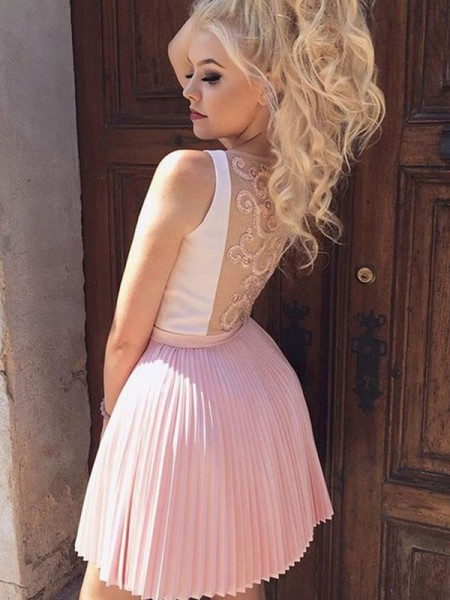 A-Line/Princess Satin Pleats V-neck Sleeveless Short/Mini Dresses