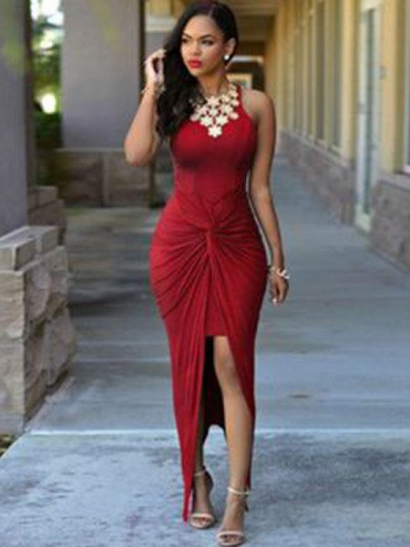 Sheath/Column Sleeveless Jewel Ankle-Length Elastic Woven Satin Beading Asymmetrical Dresses