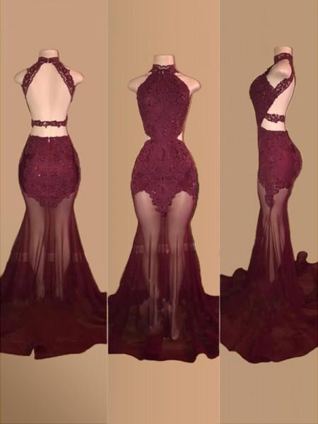 Trumpet/Mermaid Sleeveless Halter Court Train Tulle Applique Dresses