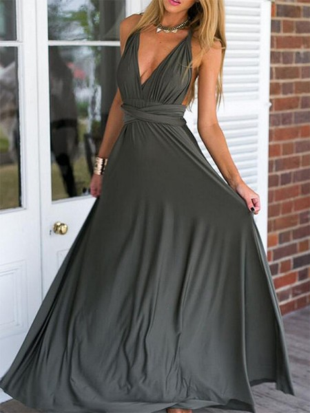 Empire Sleeveless V-neck Floor-Length Ruched Chiffon Dresses