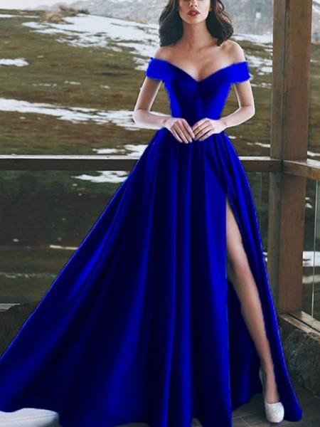 A-Line/Princess Sleeveless Off-the-Shoulder Floor-Length Ruffles Satin Dresses