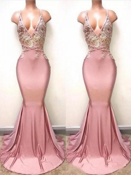 Trumpet/Mermaid Sleeveless V-neck Sweep/Brush Train Lace Satin Dresses