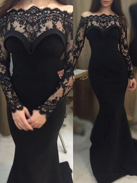 Trumpet/Mermaid Long Sleeves Off-the-Shoulder Sweep/Brush Train Lace Elastic Woven Satin Dresses