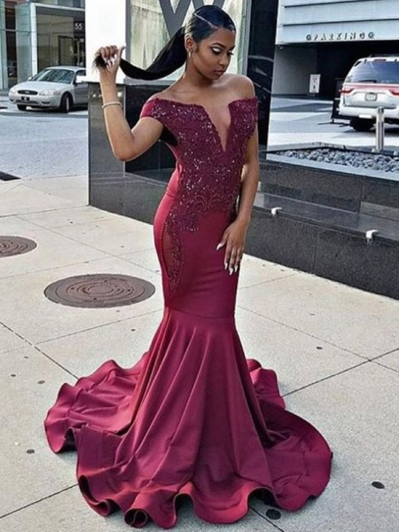 Trumpet/Mermaid Sleeveless Off-the-Shoulder Sweep/Brush Train Lace Satin Dresses