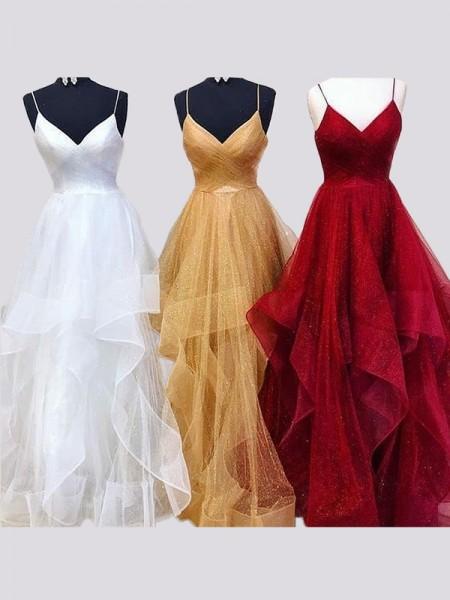 A-Line/Princess Sleeveless Spaghetti Straps Floor-Length Organza Ruffles Dresses
