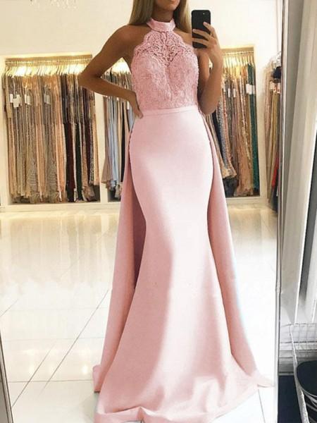 Trumpet/Mermaid Sleeveless Halter Sweep/Brush Train Lace Satin Dresses