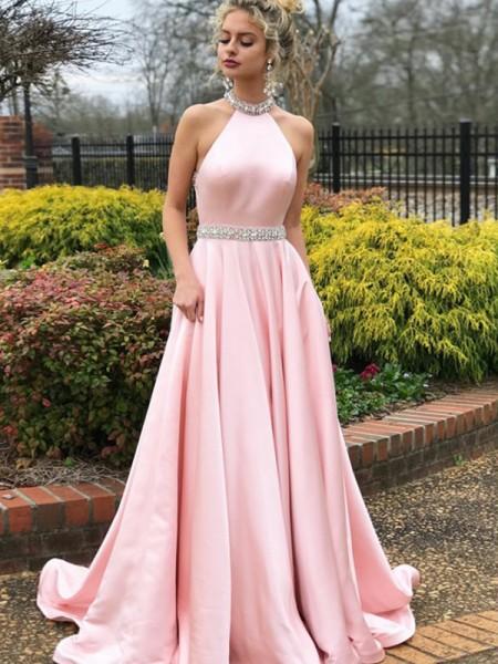 A-Line/Princess Sleeveless Halter Sweep/Brush Train Beading Satin Dresses