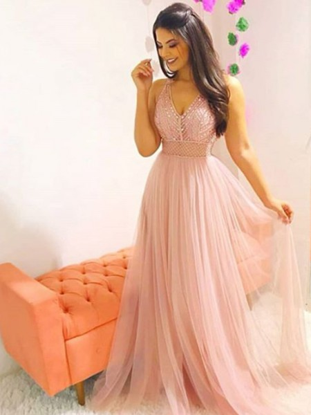 A-Line/Princess Sleeveless V-neck Sweep/Brush Train Crystal Tulle Dresses