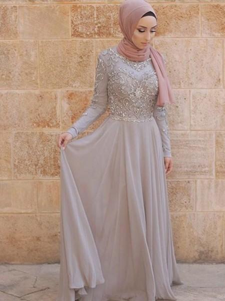 A-Line/Princess Long Sleeves Scoop Sweep/Brush Train Crystal Tulle Muslim Dresses