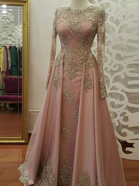 A-Line/Princess Long Sleeves Scoop Floor-Length Applique Tulle Muslim Dresses