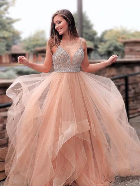 A-Line/Princess Sleeveless Straps Sweep/Brush Train Beading Tulle Dresses