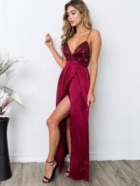 A-Line/Princess Sleeveless Straps Floor-Length Sequin Silk like Satin Dresses