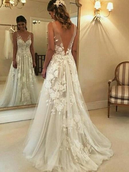 A-Line/Princess V-neck Sleeveless Sweep/Brush Train Applique Tulle Wedding Dresses