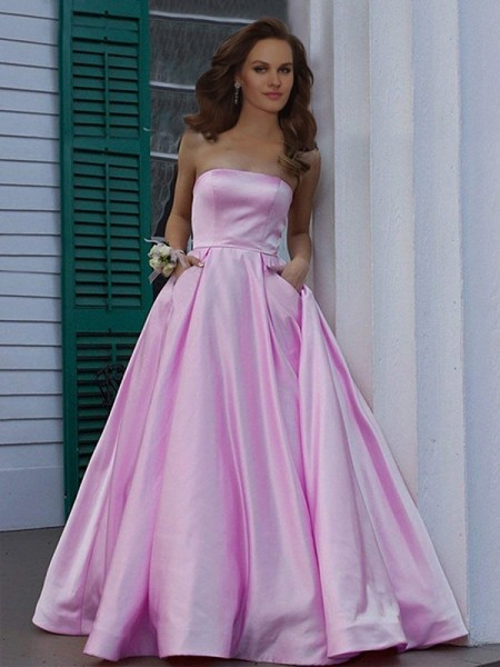 A-Line/Princess Strapless Sleeveless Floor-Length Ruffles Satin Dresses