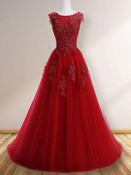 A-Line/Princess Scoop Sleeveless Sweep/Brush Train Applique Tulle Dresses