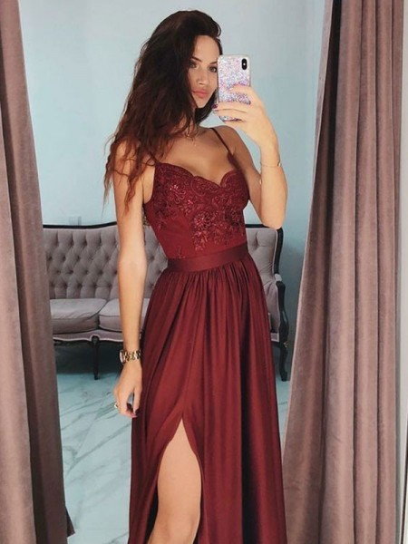 A-Line/Princess V-neck Sleeveless Floor-Length Lace Silk Like Satin Dresses