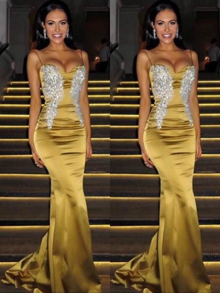 Trumpet/Mermaid Sleeveless Spaghetti Straps Sweep/Brush Train Beading Satin Dresses