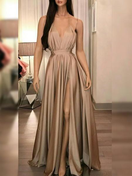 A-Line/Princess Satin Ruffles Spaghetti Straps Sleeveless Floor-Length Dresses