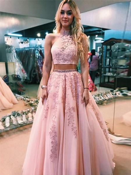 A-Line/Princess Sleeveless Halter Floor-Length Applique Tulle Two Piece Dresses