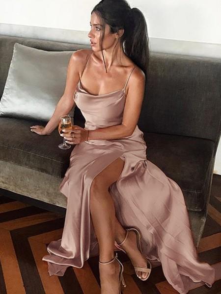 Sheath/Column Sleeveless Spaghetti Straps Floor-Length Silk like Satin Dresses