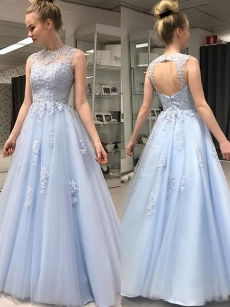 A-Line/Princess Sleeveless Sheer Neck Floor-Length Applique Tulle Dresses