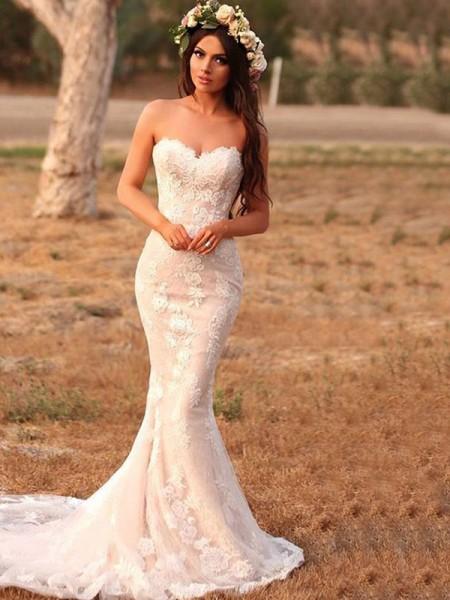 Trumpet/Mermaid Lace Applique Sweetheart Sleeveless Sweep/Brush Train Wedding Dresses
