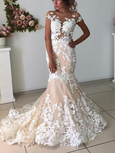 Trumpet/Mermaid Tulle Applique Bateau Short Sleeves Sweep/Brush Train Wedding Dresses