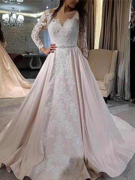 A-Line/Princess Satin Applique V-neck Long Sleeves Sweep/Brush Train Wedding Dresses