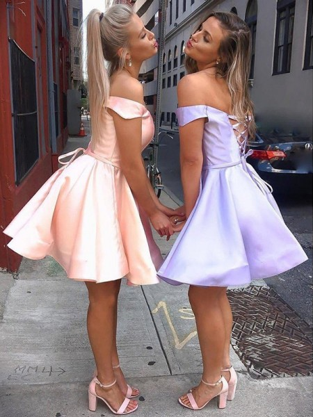 A-Line/Princess Satin Ruffles Off-the-Shoulder Sleeveless Short/Mini Homecoming Dresseses
