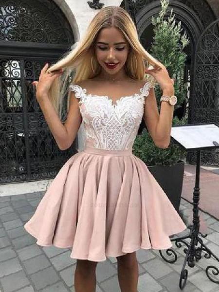 A-Line/Princess Satin Applique Off-the-Shoulder Sleeveless Short/Mini Homecoming Dresses