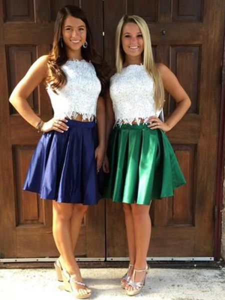 A-Line/Princess Satin Ruffles Sheer Neck Sleeveless Short/Mini Two Piece Homecoming Dresses