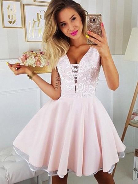 A-Line/Princess Satin Applique V-neck Sleeveless Short/Mini Homecoming Dresses