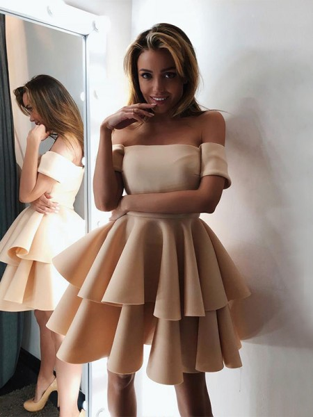 A-Line/Princess Satin Layers Off-the-Shoulder Sleeveless Short/Mini Homecoming Dresses