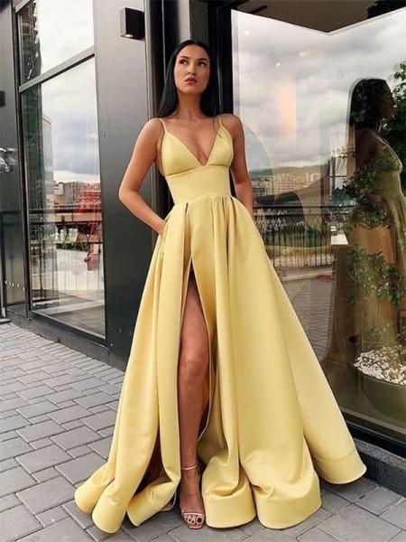 A-Line/Princess Ruffles Satin Spaghetti Straps Sleeveless Floor- Length Dresses