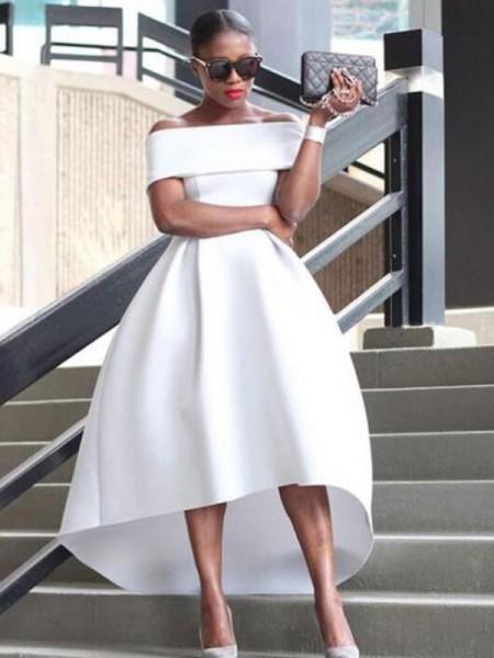 A-Line/Princess Satin Ruffles Off-the-Shoulder Sleeveless Asymmetrical Dresses