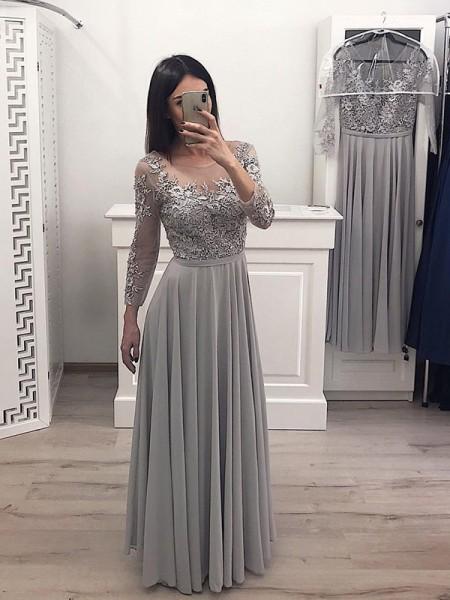 A-Line/Princess Chiffon Applique Scoop Long Sleeves Floor-Length Dresses