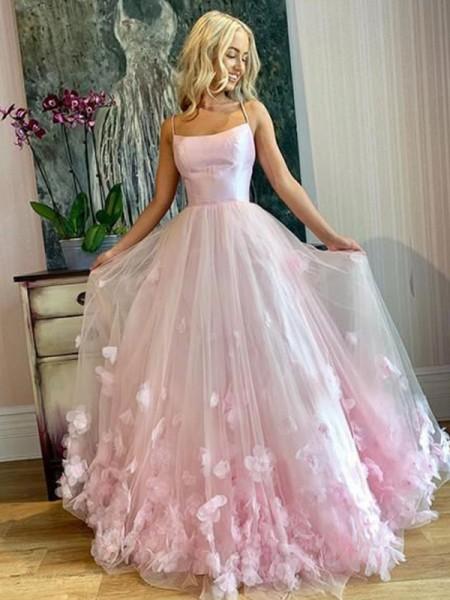 A-Line/Princess Bateau Tulle Applique Floor-Length Sleeveless Dresses