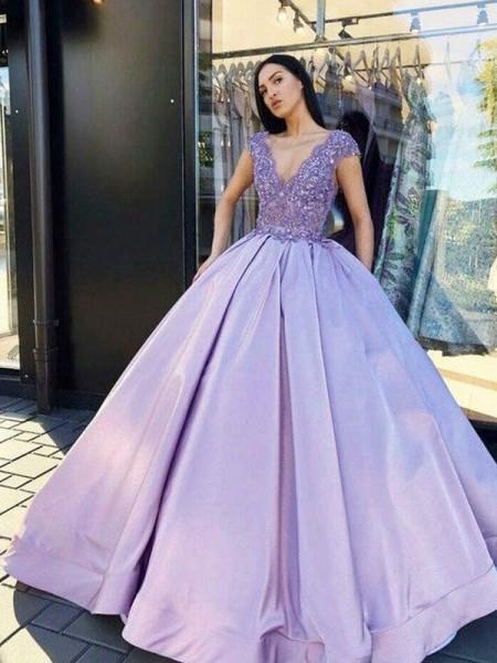 Ball Gown Satin Beading V-neck Short Sleeves Floor-Length Dresses