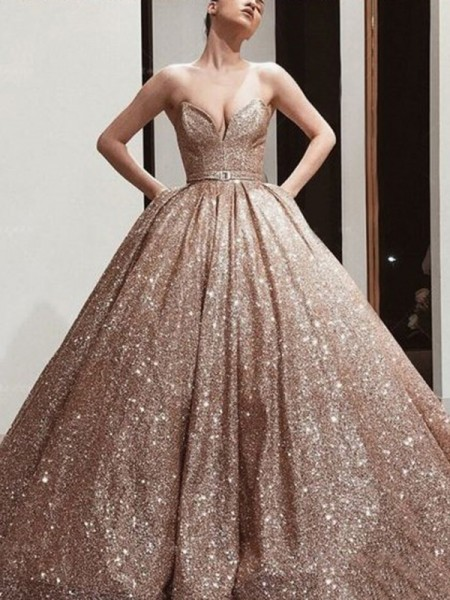 Ball Gown Sequins Sash/Ribbon/Belt Sweetheart Sleeveless Sweep/Brush Train Dresses