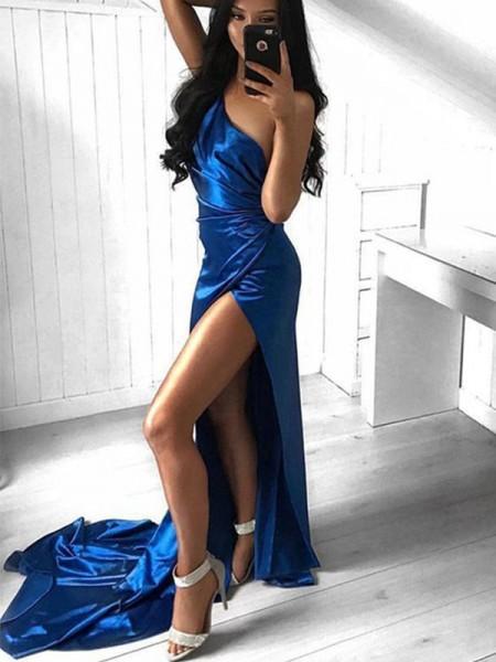 Sheath/Column Ruched One-Shoulder Court Train Satin Sleeveless Dresses