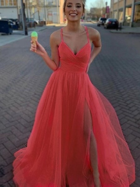 A-Line/Princess Sleeveless Tulle V-neck Ruched Sweep/Brush Train Dresses