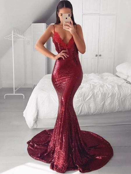 Trumpet/Mermaid V-neck Sequins Applique Sweep/Brush Train Sleeveless Dresses