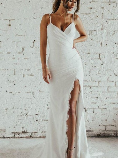 Sheath/Column Spaghetti Straps Ruched Sleeveless Chiffong Sweep/Brush Train Wedding Dresses