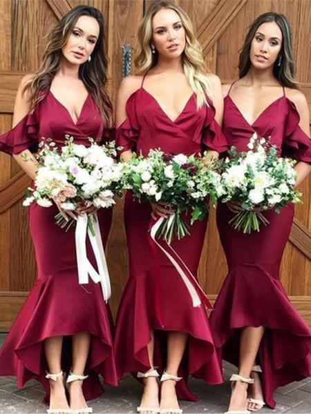 Trumpet/Mermaid Satin Ruffles Spaghetti Straps Sleeveless Asymmetrical Bridesmaid Dresses