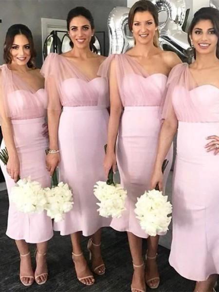Sheath/Column One-Shoulder Satin Ruffles Sleeveless Tea-Length Bridesmaid Dresses