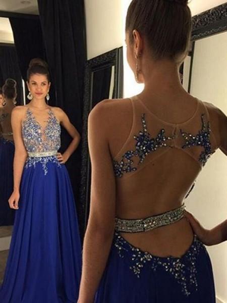 A-Line/Princess Sleeveless V-neck Chiffon Applique Floor-Length Dresses