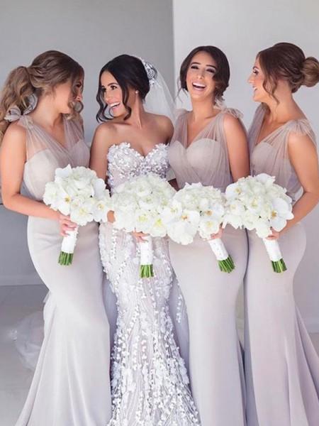 Trumpet/Mermaid Straps Sleeveless Ruffles Sweep/Brush Train Satin Bridesmaid Dresses