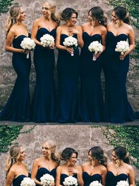 Trumpet/Mermaid Ruffles Sweetheart Satin Sweep/Brush Train Sleeveless Bridesmaid Dresses