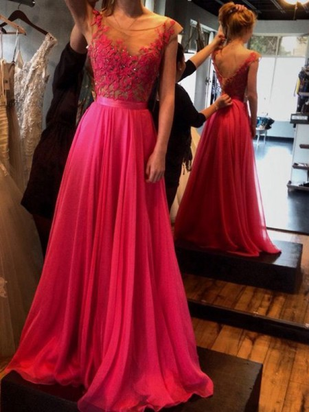 A-Line/Princess Sleeveless Scoop Sweep/Brush Train Applique Chiffon Dresses