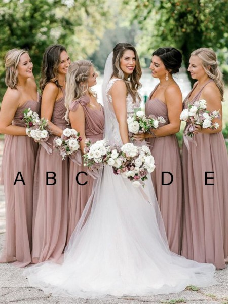 A-Line/Princess Tulle Ruffles Straps Sleeveless Floor-Length Bridesmaid Dresses